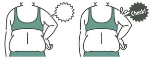 肥満の女性の二の腕と背中-チェック-2色のイラスト素材 [FYI04809640]