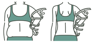 肥満の女性とスリムな女性の二の腕-メジャー-2色のイラスト素材 [FYI04809643]