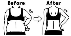 肥満の女性とスリムな女性の二の腕-ビフォーアフター-黒のイラスト素材 [FYI04809645]