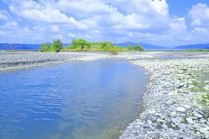 夏の渇水期の大井川の支流の写真素材 [FYI04809762]