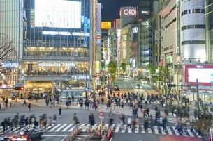 渋谷スクランブル交差点の夜景の写真素材 [FYI04810028]
