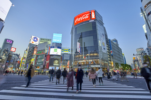 渋谷スクランブル交差点の夕景の写真素材 [FYI04810059]