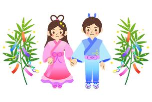 七夕の笹飾りと織姫と彦星のイラストのイラスト素材 [FYI04810071]