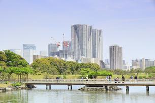 浜離宮庭園のお伝い橋と勝どきのタワーマンションの写真素材 [FYI04810231]