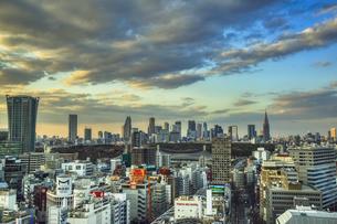 夕暮れの渋谷の街並みと新宿のビル群の写真素材 [FYI04810351]