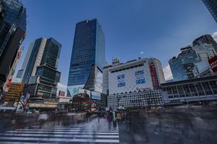 渋谷駅スクランブル交差点を行き交う人々の写真素材 [FYI04810368]