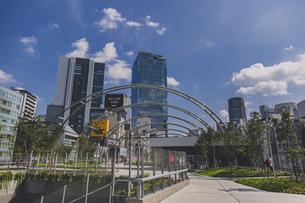 渋谷 ミヤシタパークから望む渋谷駅の高層ビル群の写真素材 [FYI04810382]
