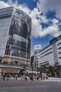 渋谷駅前スクランブル交差点と商業ビル群の写真素材 [FYI04810396]