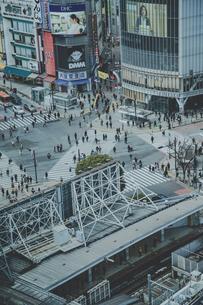 渋谷駅前スクランブル交差点と商業ビル群の写真素材 [FYI04810502]
