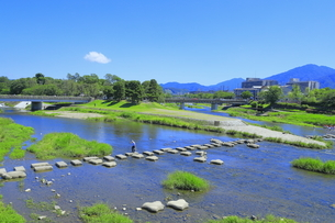 賀茂川と高野川の合流点の写真素材 [FYI04810788]