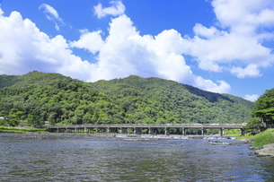 夏の嵐山と渡月橋の写真素材 [FYI04810844]