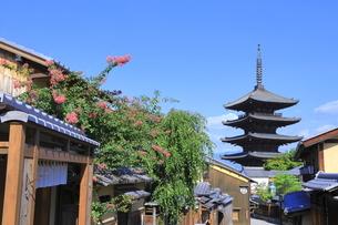夏の八坂通と八坂の塔の写真素材 [FYI04810851]
