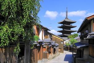 夏の八坂通と八坂の塔の写真素材 [FYI04810855]