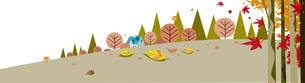 秋の枯葉と紅葉の背景のイラスト素材 [FYI04810926]