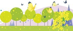 菜の花に蝶が舞う春の野山のイラスト素材 [FYI04810937]