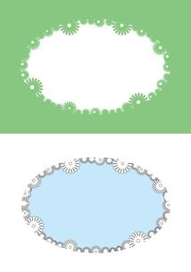 花のシルエットのフレーム,緑のイラスト素材 [FYI04811374]