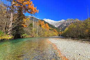 秋の上高地 梓川の清流に紅葉と冠雪の穂高連峰の写真素材 [FYI04811402]
