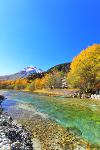秋の上高地 梓川の清流に紅葉と冠雪の焼岳の写真素材 [FYI04811405]