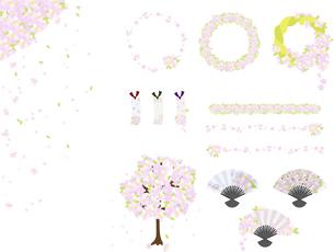 桜のおしゃれな素材セットのイラスト素材 [FYI04811482]