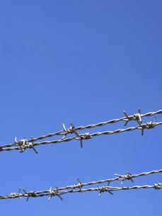 青空と有刺鉄線の写真素材 [FYI04811792]