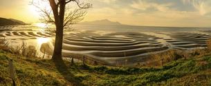 パノラマ風景 自然の神秘 夕日に砂紋が映え、癒やされる景勝風景 日本の「渚百選」「日本の夕陽百選」の写真素材 [FYI04811887]