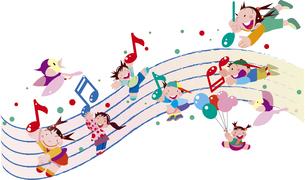 音楽と子供たちのイラスト素材 [FYI04811954]