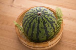 桶で冷やす西瓜の写真素材 [FYI04812280]
