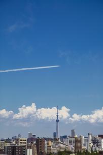 都心の上空を飛行するブルーインパルスと東京スカイツリーの写真素材 [FYI04812438]