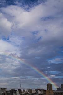 虹がかかった都心の空と東京スカイツリーの写真素材 [FYI04812446]