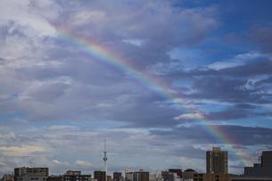 虹がかかった都心の空と東京スカイツリーの写真素材 [FYI04812448]