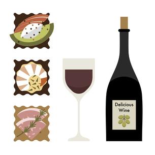ワインとつまみのイラストのイラスト素材 [FYI04812670]