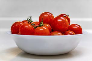白い皿に盛られた真っ赤なミニトマトの写真素材 [FYI04813113]