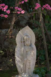 長谷寺の石像と桃の花の写真素材 [FYI04813680]