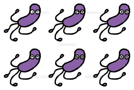 単純化したピロリ菌の表情セットのイラスト素材 [FYI04814170]