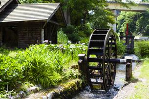 嵐渓荘の水車の写真素材 [FYI04814180]