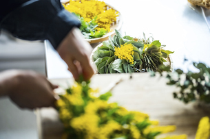 Woman making bouquet of mimosa. Modern lifestyle image.の写真素材 [FYI04814252]