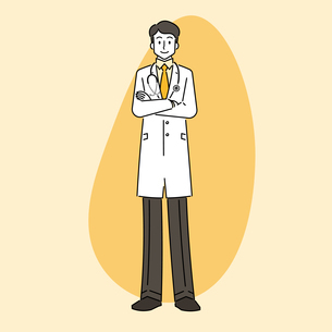 聴診器を首にかけている、若い男性の医師のイラスト素材 [FYI04814263]