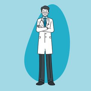聴診器を首にかけて、マスクをしている、若い男性の医師のイラスト素材 [FYI04814265]
