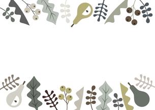 パステルカラーの葉っぱと植物のフレームのイラスト素材 [FYI04814561]