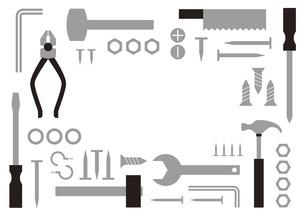 モノクロ工具のフレームのイラスト素材 [FYI04814868]
