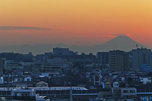 東京遠望 富士山暮色とE7系北陸新幹線の写真素材 [FYI04814944]