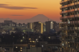 東京遠望 富士山暮色の写真素材 [FYI04814946]