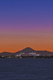 千葉遠望 東京ゲートブリッジライトアップと富士山暮色の写真素材 [FYI04814972]