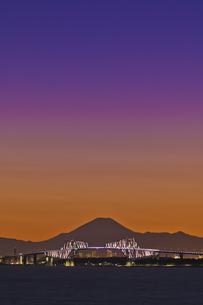 千葉遠望 東京ゲートブリッジライトアップと富士山暮色の写真素材 [FYI04814974]