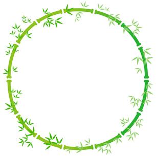 緑色の竹の装飾枠【円形】のイラスト素材 [FYI04815353]