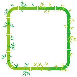 緑色の竹の装飾枠【角丸正方形】のイラスト素材 [FYI04815354]
