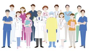 医療従事者として活躍する人々の集合体のイラスト素材 [FYI04815631]