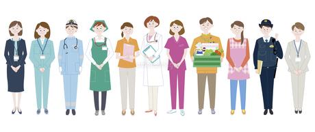 エッセンシャルワーカーとして活躍する女性達のイラスト素材 [FYI04815637]