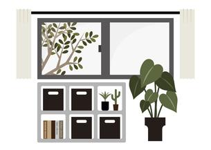 腰窓と収納棚のイラスト素材 [FYI04815644]