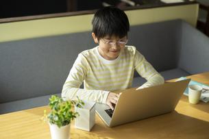 パソコンで学習する男の子の写真素材 [FYI04815886]